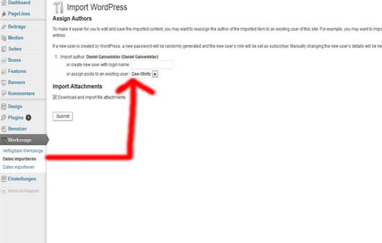 Wordpress Artikel importieren