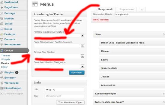 Wordpress Menü wiederherstellen