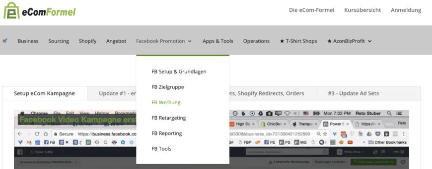 eCom Formel Facebook Marketing Lern Modul