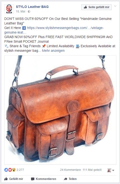 Typische Facebook Anzeige für eCommerce